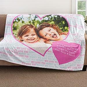Personalized Photo Fleece Blankets - Photo Heart - 18607