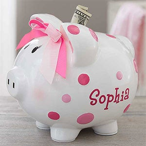 Personalized Piggy Bank For Girl - Pink Polka Dot - 18610