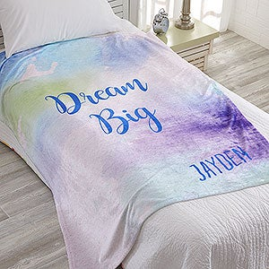 Personalized Fleece Blankets - Watercolor Design - 18615