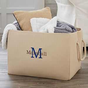 Embroidered Canvas Storage Tote - Name & Initial - 18680