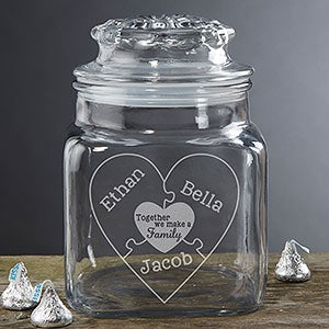 Personalized Glass Jar - Together We Make A Family - 18685