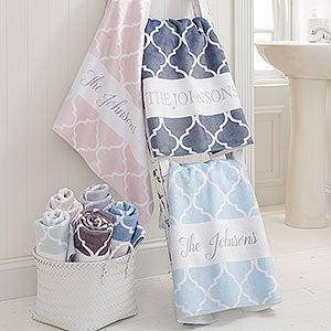 Personalized Bath Towels - Geometric Pattern - 18696