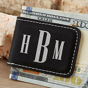 Personalized Black Magnetic Money Clip - Leatherette - 18727