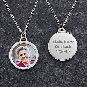 Engraved Memorial Photo Pendant Necklace - 18728