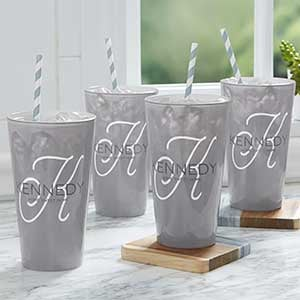 Printed Drinking Glasses - Personalized Initial - 18737
