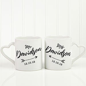 Personalized Wedding Coffee Mugs And Add Names Date Set Of 2 Features Arrow Design Free Personalization Fast Shipping