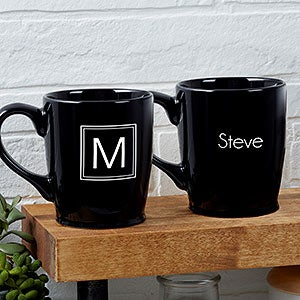 Custom Black Coffee Mugs - Monogram or Name - 18765