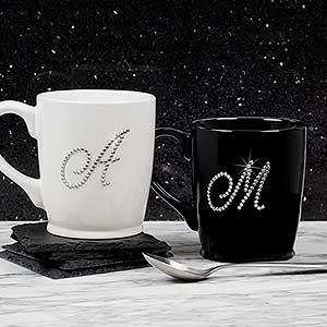 Custom Bistro Coffee Mugs - Rhinestone Monogram - 18766