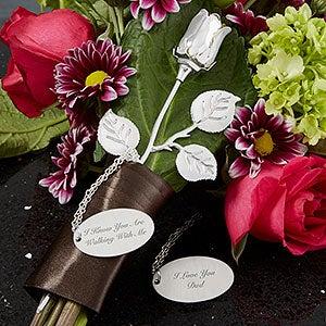 Wedding Memorial Engraved Silver Keepsake Rose - 18770