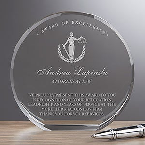 Personalized Crystal Award - Attorney - 18781