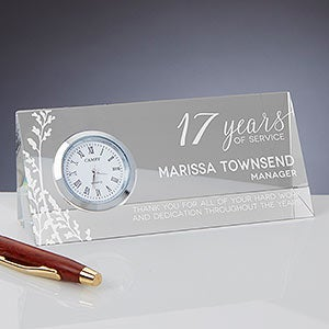 Personalized Retirement Glass Desk Clock - 18787
