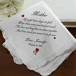 Personalized Wedding Handkerchief - Tears of Joy Mother Design - 1879