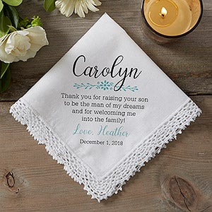 Personalized Wedding Handkerchief Mother Of The Groom 18792