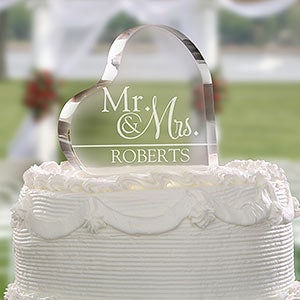 Heart Shaped Glass Personalized Cake Topper - 18795