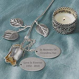 Engraved Silver Memorial Keepsake Rose - 18810