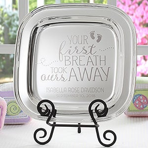 personalized baby keepsake engraved silver tray