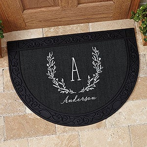 Farmhouse Floral Personalized Half Round Doormat  - 18836