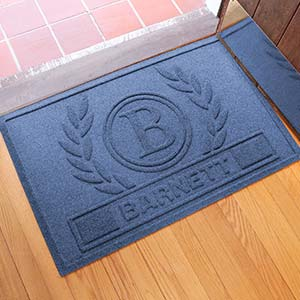Personalized AquaShield Doormat - Laurel Wreath - 18851D