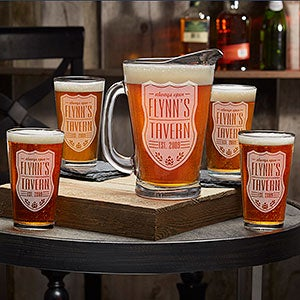 beer label personalized beer pitcher pint glasses