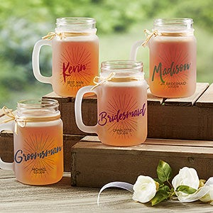 Personalized Frosted Mason Jars - Wedding Party - 18871