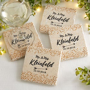 Personalized Stone Coaster Set - Sparkling Love - 18876