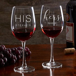 His & Hers Personalized Red Wine Glass