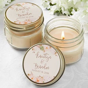 Personalized Mason Jar Candle Wedding Favors - Modern Floral - 18913