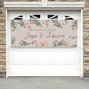 Personalized Banner - Modern Floral Wedding - 18916