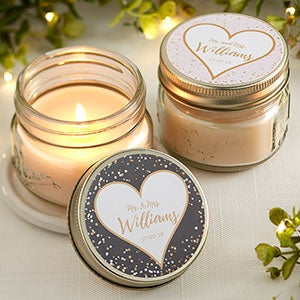 Personalized Mason Jar Candle Favors Sparkling Love 18919