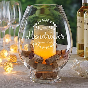 Engraved Glass Hurricane Candle Holder - Wedding  - 18963