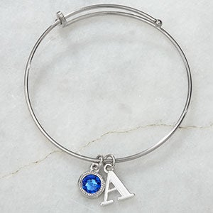 Initial & Birthstone Personalized Bangle Bracelet - 18983D