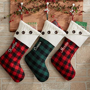 personalized buffalo check christmas stockings 19002 - Plaid Christmas Stockings