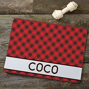 Personalized Pet Food Mat - Pet Plaid - 19031