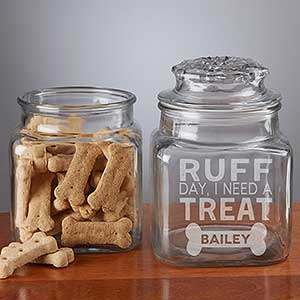 Personalized Pet Treat Jar - Ruff Day, I Need A Treat - 19050