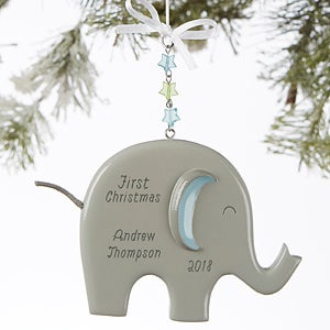 buy personalized elephant christmas ornaments for baby boys add name year more free personalization fast shipping - Baby Boy First Christmas Ornament