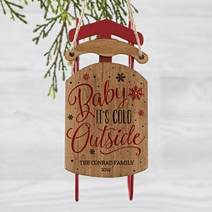 Personalized Vintage Sled Ornament - Baby It's Cold Outside - 19065