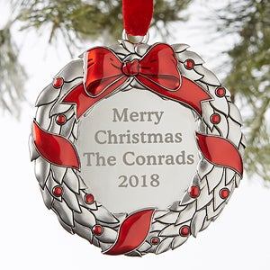 Personalized Silver Ornament - Holiday Wreath - 19067