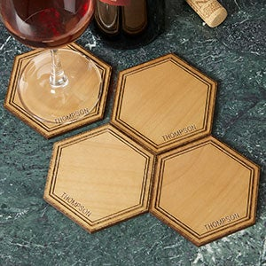 Personalized Wood Coasters - Hexagon Alderwood - 19074