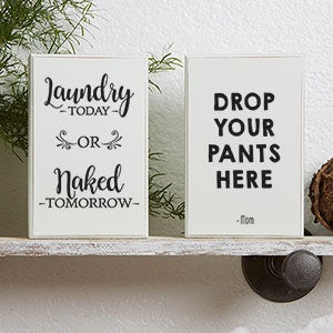 Laundry Room Art - Personalized Shelf Blocks - 19090