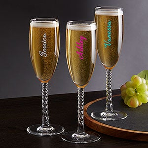 Personalized Champagne Flutes - Trendy Signature - 19093