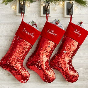 Reversible Sequin Personalized Christmas Stockings