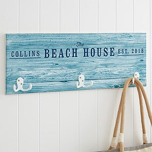 Personalized Wood Sign Coat Rack - Coastal Home - 19106