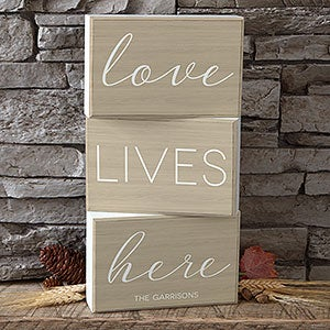 Personalized Shelf Decor 3pc - Love Lives Here - 19132