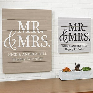 Mr & Mrs Personalized Wood Slat Plank Signs - 19170