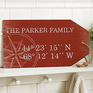 Latitude Longitude Personalized Wood Shelf Decor - 19176