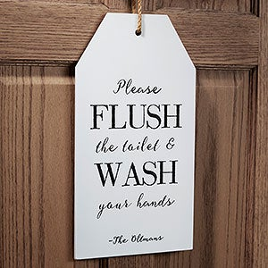 Personalized Funny Bathroom Wall Art Wood Tags - 19178