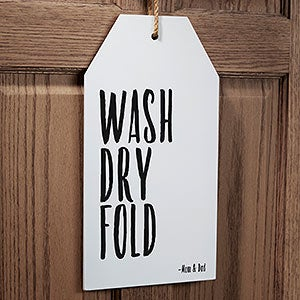 Personalized Funny Laundry Room Wall Art Wood Tags - 19179