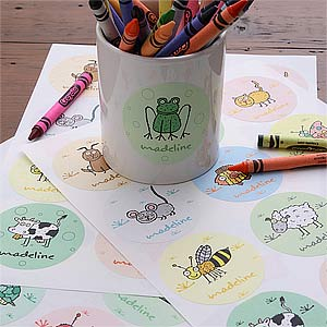 Personalized Kids Stickers - Little Creatures Design - 1918