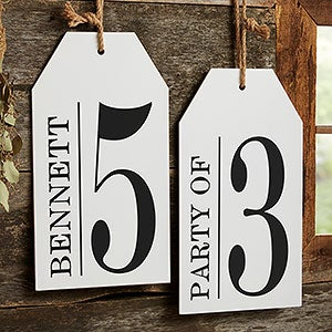 Family Number Sign Personalized Wood Tag - 19181
