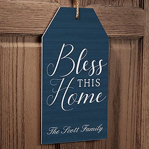 Personalized Wood Wall Tag Art - Bless This House - 19189
